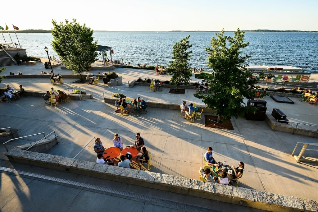 Memorial Union Terrace with people sitting at tables