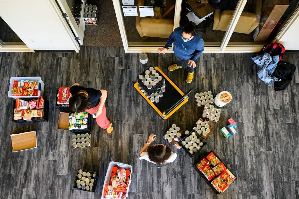 Bins of food viewed from above