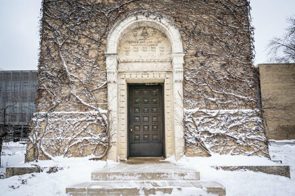 Closeup of door to Carillon tower