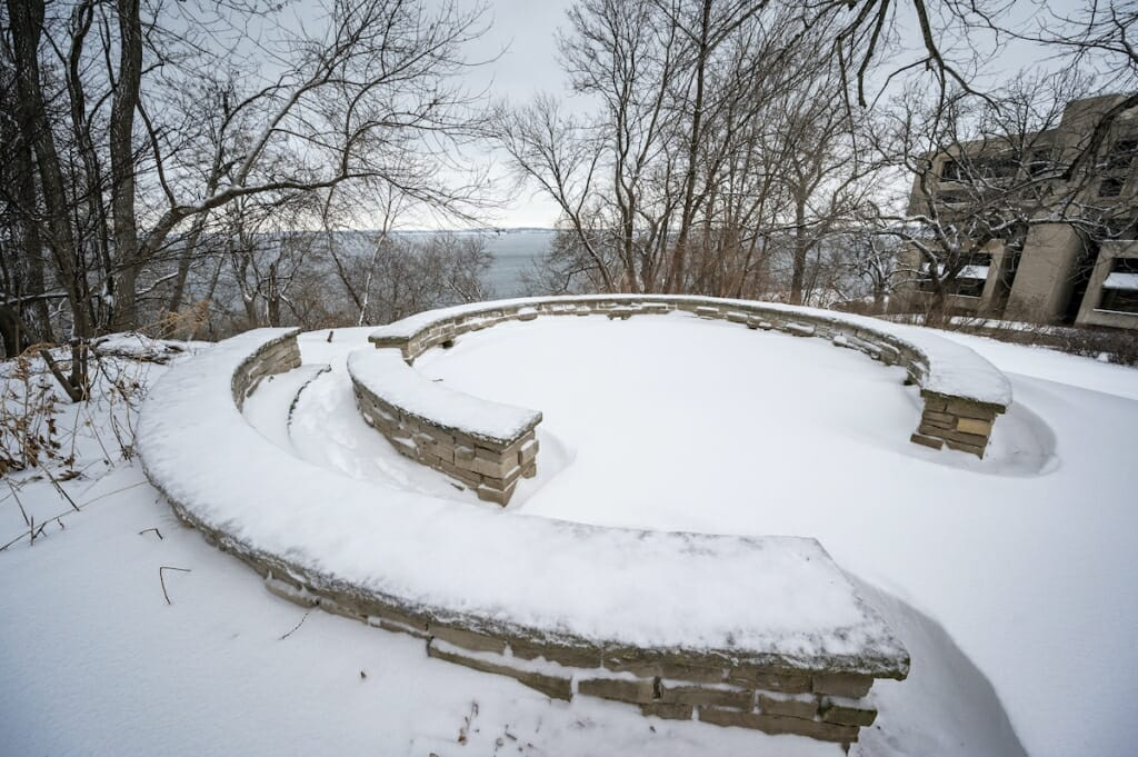 Snow covered storyteller's circle