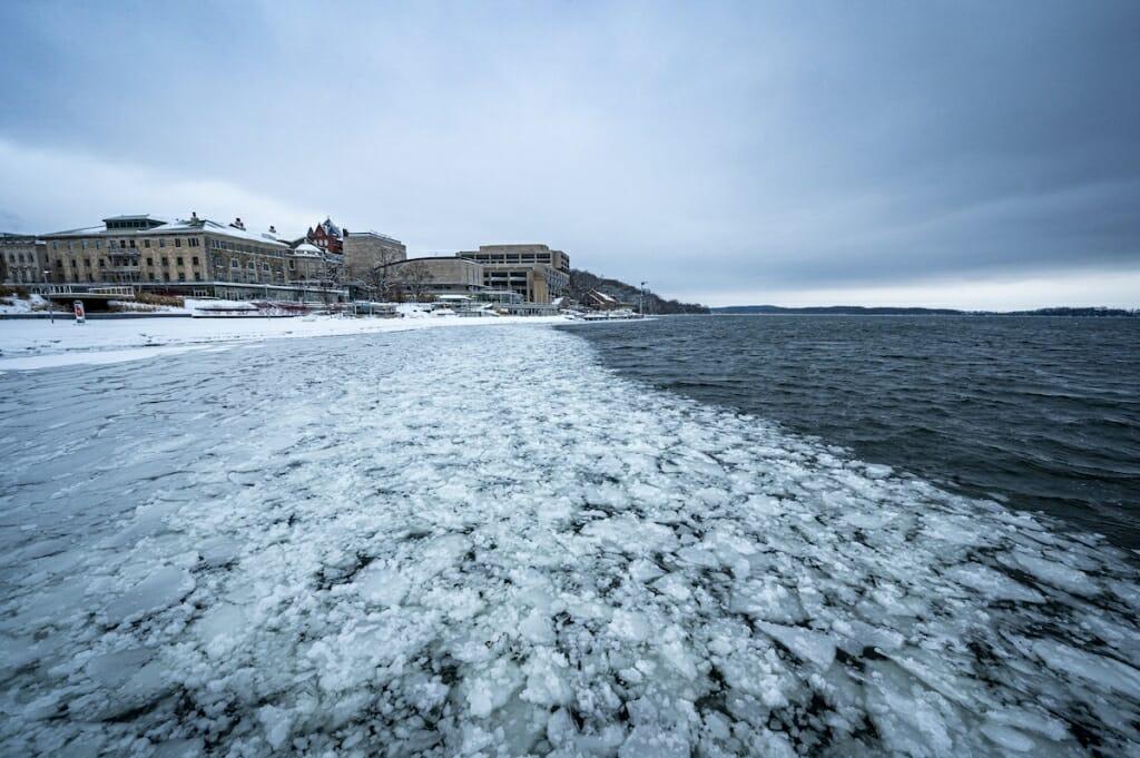 Ice forming along edge of lake