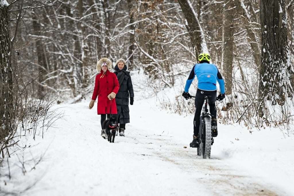 A bike with fat tires about to pass 2 pedestrians walking among bare trees on snow-covered trail