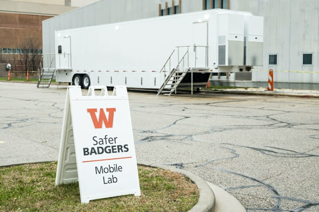 A mobile lab run by University of Illinois System subsidiary Shield T3 was set up Friday in Lot 64 near the WARF building. The lab will conduct diagnostic PCR testing of saliva samples collected at sites across campus from students and employees starting in January.