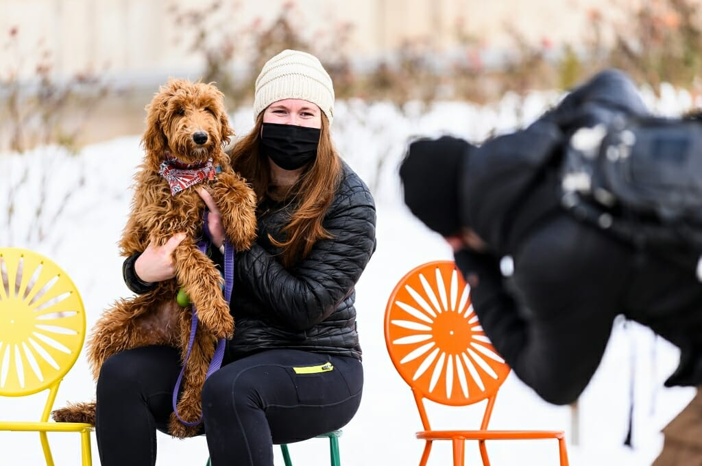 Lauren Sargeant and her six-month-old golden doodle Ellie pose for a photo with the Memorial Union Terrace's iconic sunburst chairs.