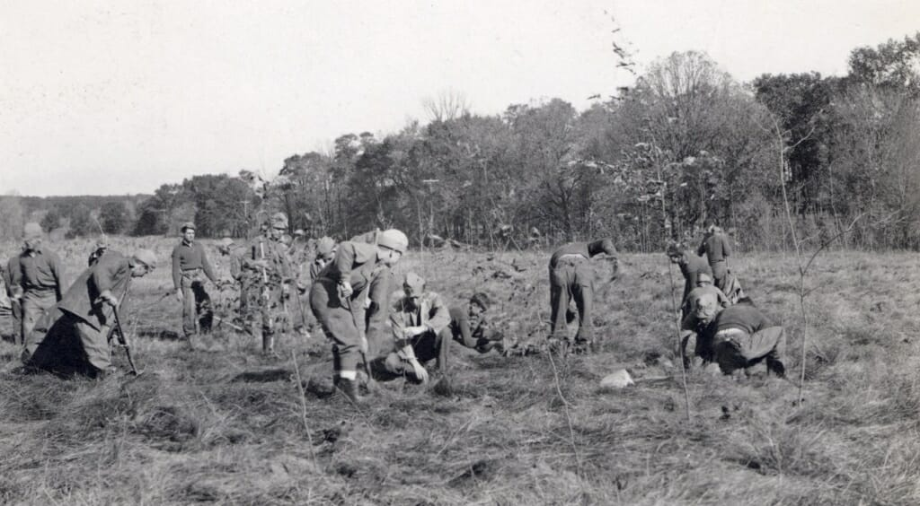 Civilian Conservation Corps workers planting a prairie at the Arboretum, November 2, 1936