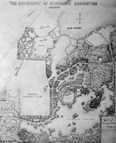 A map of the early Arboretum by G. William Longenecker, March 6,1935.