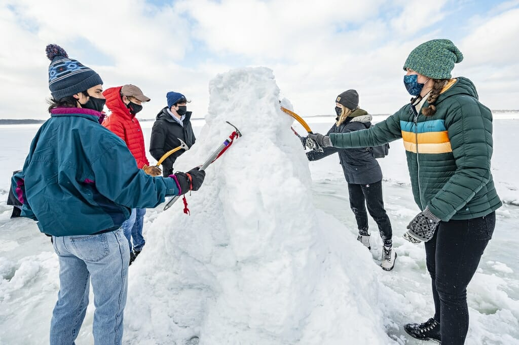 Participants get a feel for using an ice axe.