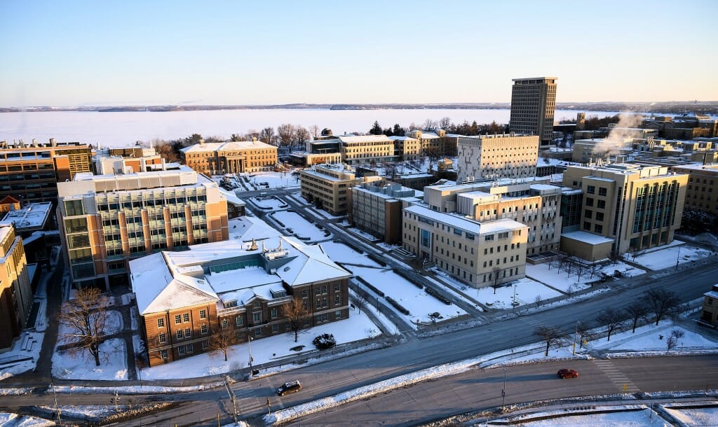 A view of Henry Mall, looking northeast from the roof of the Engineering Research Building toward frozen and snow-covered Lake Mendota.
