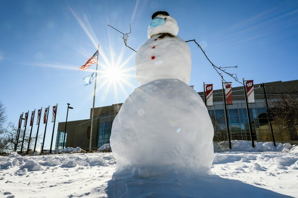 A friendly wave from this snowman outside the Kohl Center.