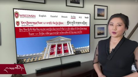 Screenshot of VOA broadcast with Bascom Hall background