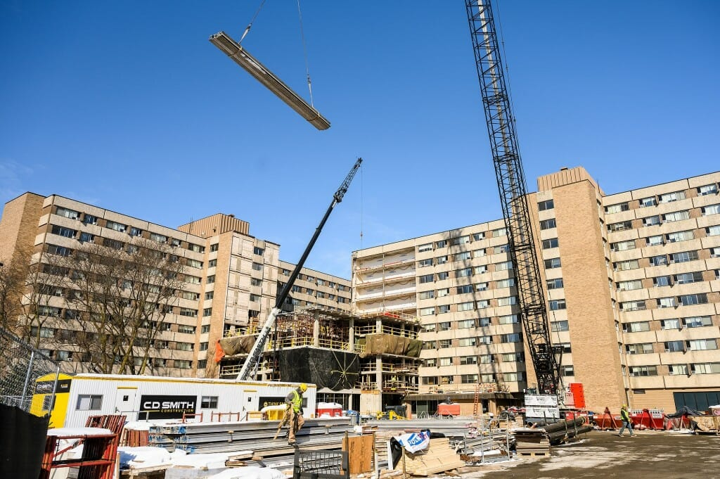 Sellery Residence Hall is in the midst of a three-year renovation to improve resident space and upgrade facilities. It includes a new connecting link between the two towers, similar to the one at Witte Residence Hall.
