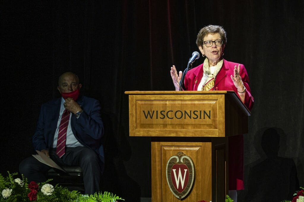 UW Chancellor Rebecca Blank praises Alvarez during his retirement press conference.
