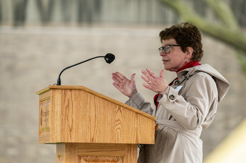 UW Chancellor Rebecca Blank joined with student leaders to break ground and celebrate the plaza.