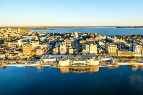 Aerial view of Madison isthmus