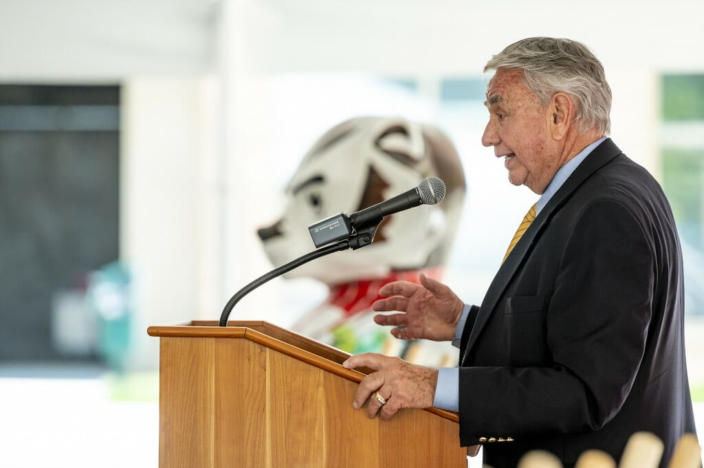 Interim UW System president and former Wisconsin governor Tommy Thompson spoke.