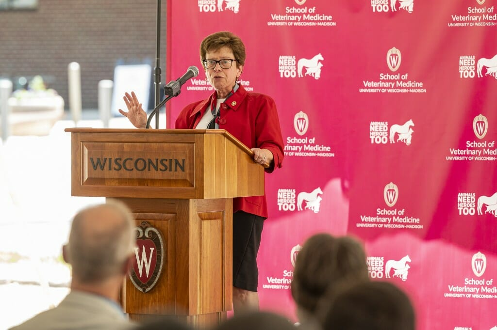 Chancellor Rebecca Blank addresses the crowd at the groundbreaking event.