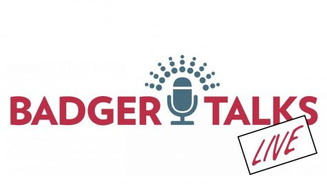 Badger Talks Live logo with microphone