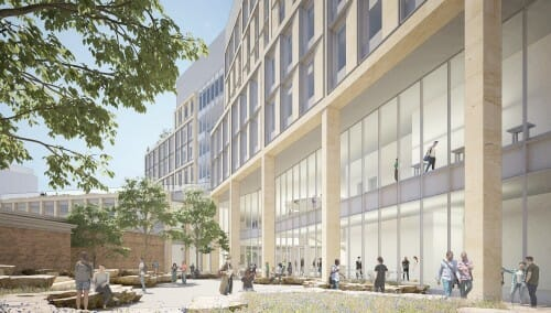 <p>The CDIS Building courtyard will be a new campus space for connections and collaboration at UW-Madison.</p>