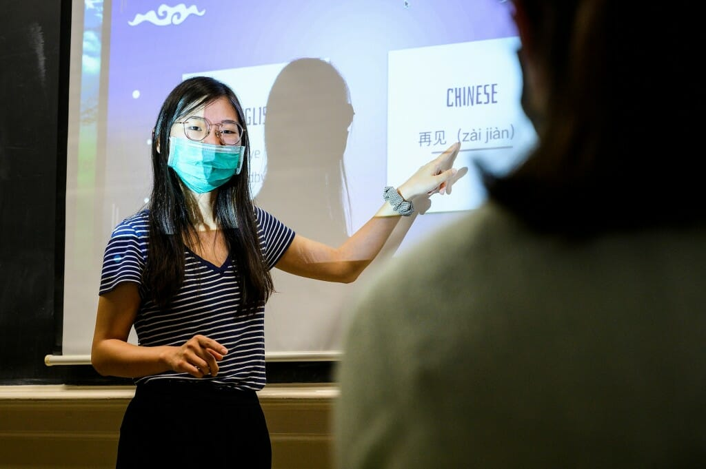 Tianlu Zhang, an assistant faculty associate in the College of Letters & Science, teaches a Chinese language class in Sterling Hall.