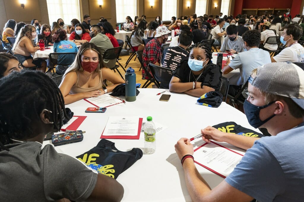 Students take part in a community building exercise.