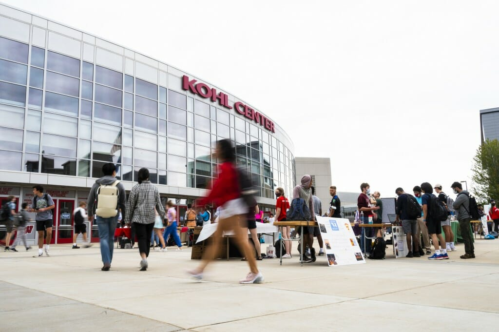 Students flock to the Student Organization Fair at the Kohl Center.