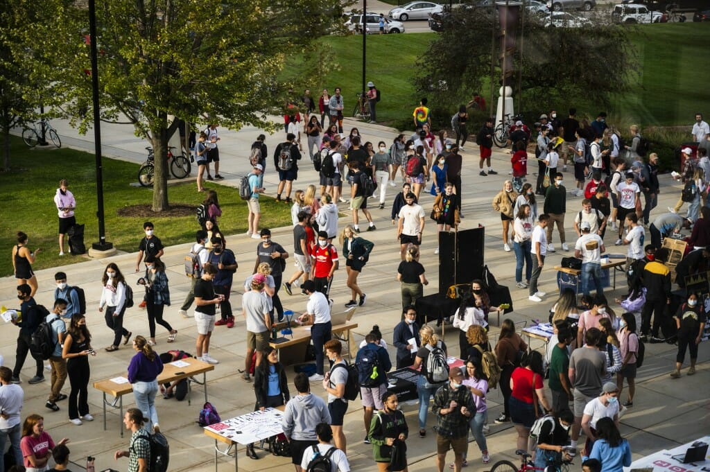 Students attend the Student Organization Fair at the Kohl Center.