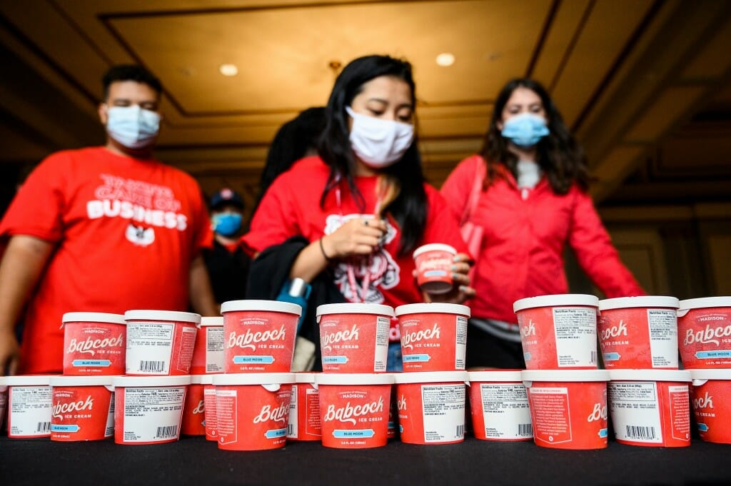 First-year students select cups of Babcock ice cream during a New Student Ice Cream Welcome event on Sept. 3. The event, part of a weeks-long series of Wisconsin Welcome programming, was sponsored by the Wisconsin Alumni Association.