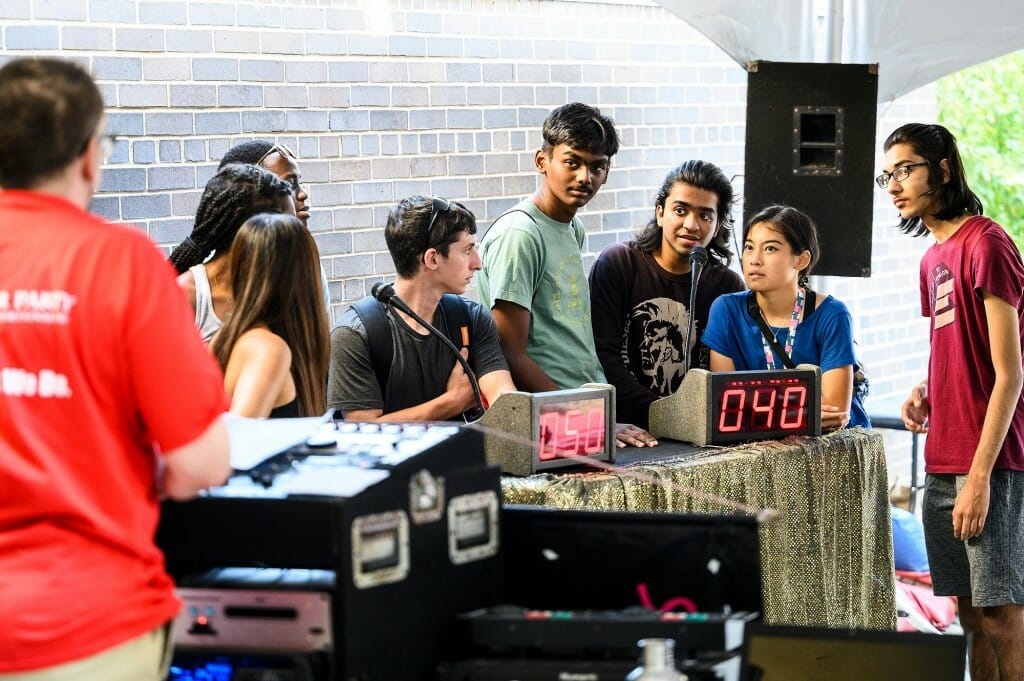 First-year, transfer and international students play a trivia-quiz game during a Labor Day Bash event held outside the Middleton Building. The event was sponsored by the UW-Madison Transfer Engagement Center.