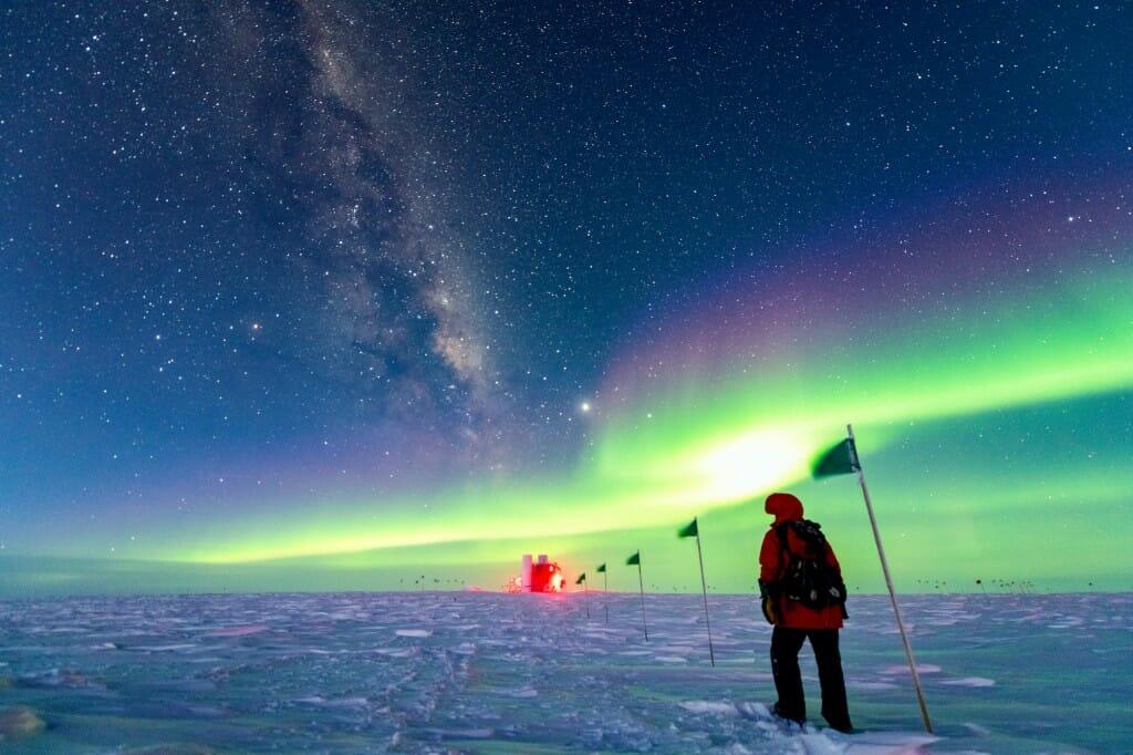 Person walking toward observatory