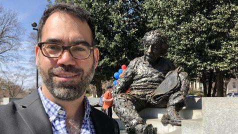 Cranmer in front of Einstein statue