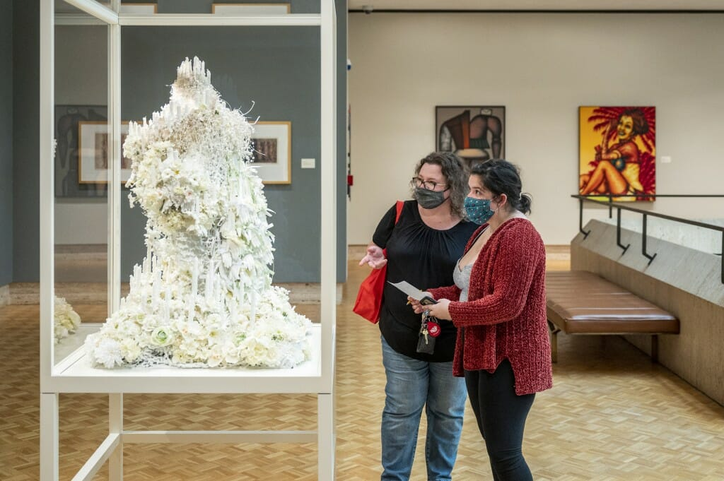 Madalyn Gasca and her mother Laura take part in a scavenger hunt at the Chazen Museum of Art.