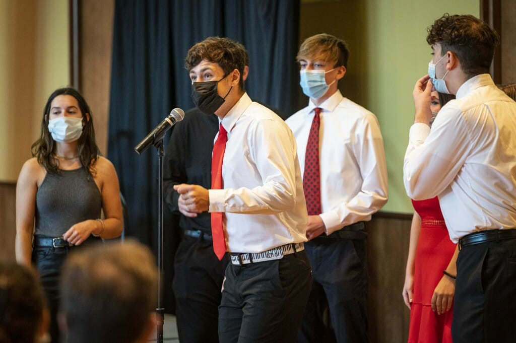 Members of the UW-Madison a cappella group Redefined perform during a Family Weekend event in Varsity Hall in Union South.