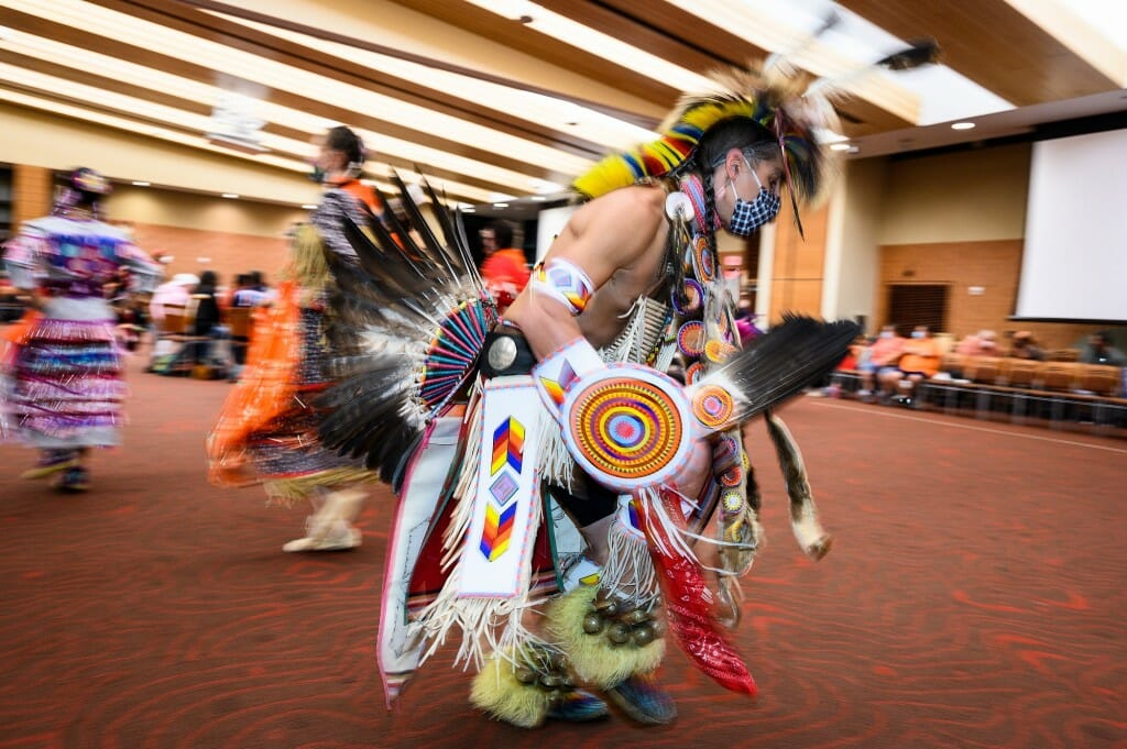 The powwow was held in celebration of Indigenous Peoples Day. Pictured is dancer Josh Zunker of Ho-Chunk Nation.