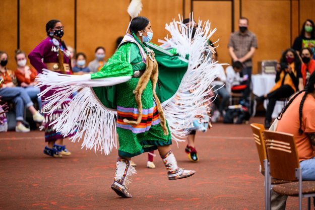 Leila Cleveland of Ho-Chunk Nation dances during the powwow.