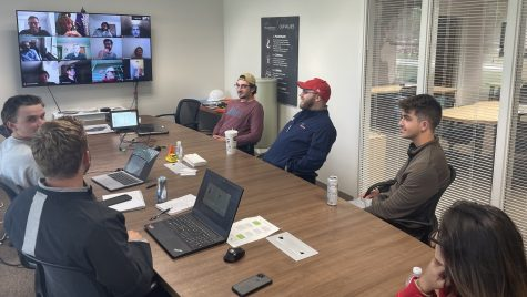 The weekly intern meeting at a business that partnered with UW–Madison in its Federal Work-Study initiative.