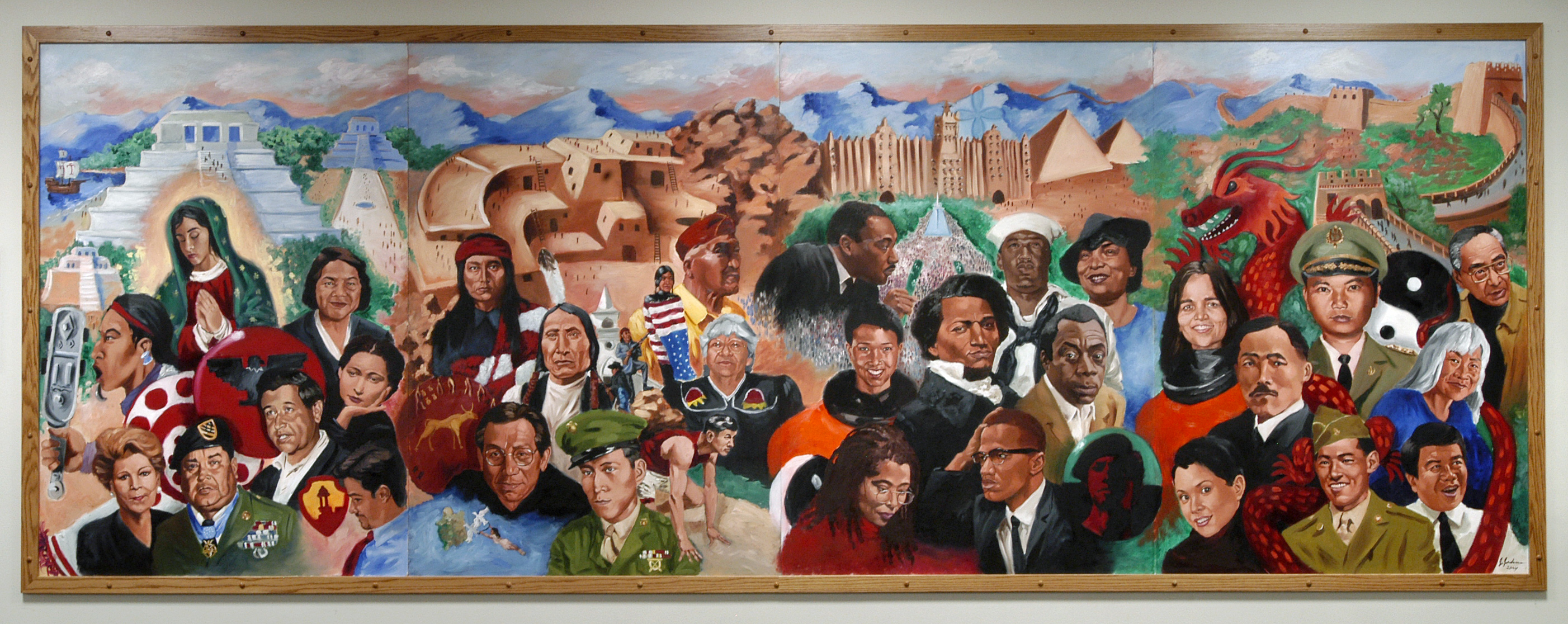 Caption painted by artist jerry jordan this mural for African mural painting