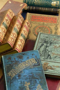 Photo of books from the Miller Collection of Bee Literature