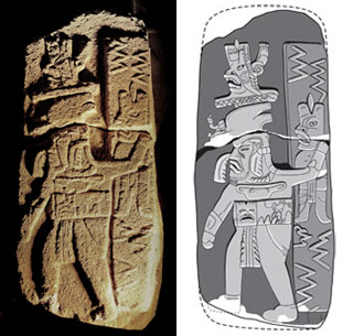 Recently discovered 3,000-year-old Olmec-style stone monument from Ojo de Agua. Photo: John Hodgson; Drawing: Kisslan Chan and John Clark, New World Archaeological Foundation