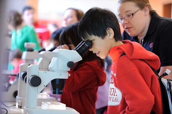 Photo: Children looking into microscopes
