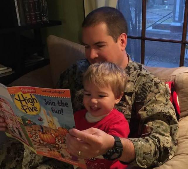 Photo: Dave Schroeder reading to son Nathaniel