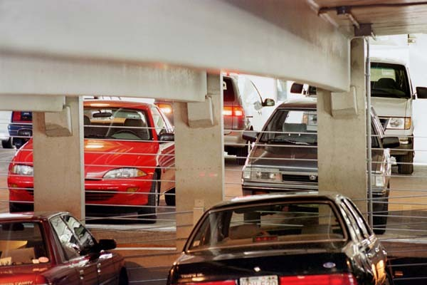Photo: Cars parked in Russell Labs garage
