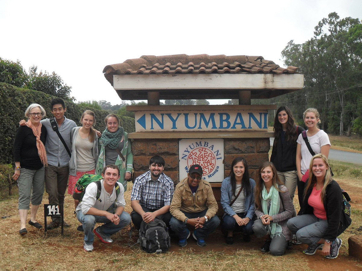 Photo: Susan Gold with her global health students in Kenya in 2014