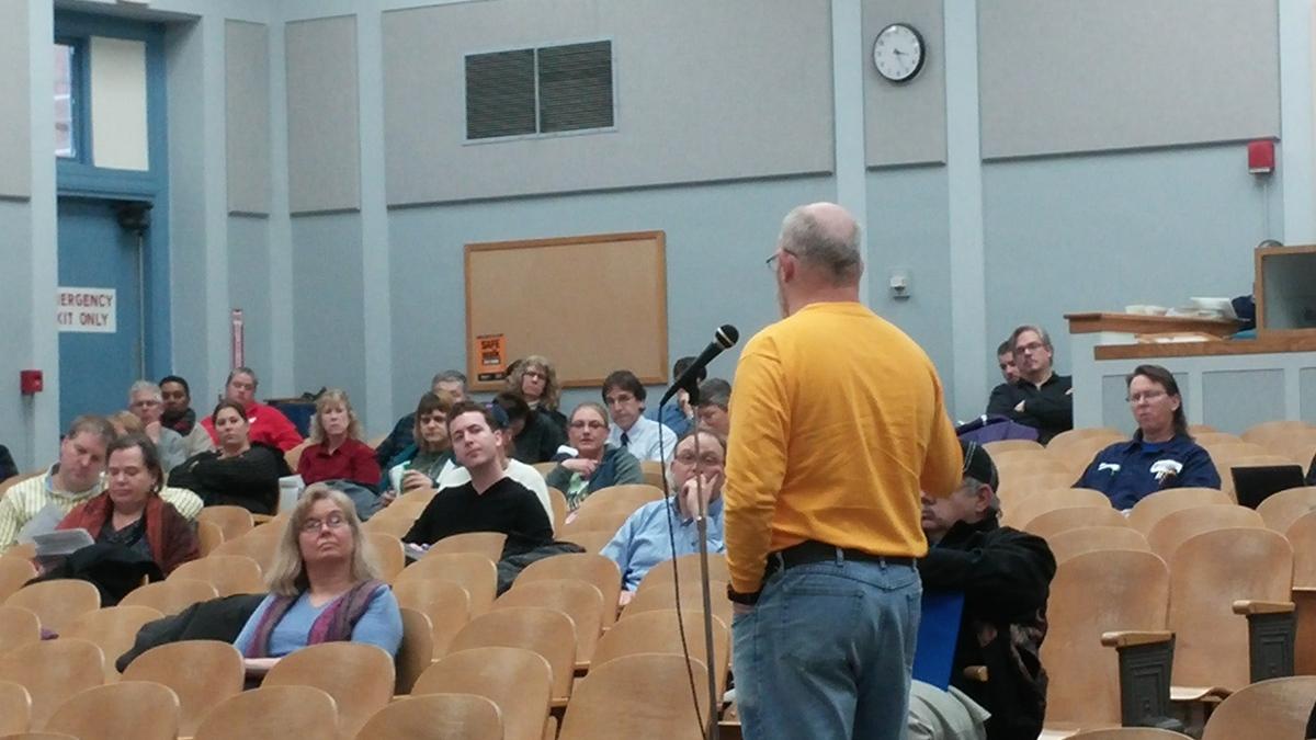Photo: Speaker addressing Classified Staff Congress
