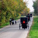 Photo: Amish families walking and in carriages