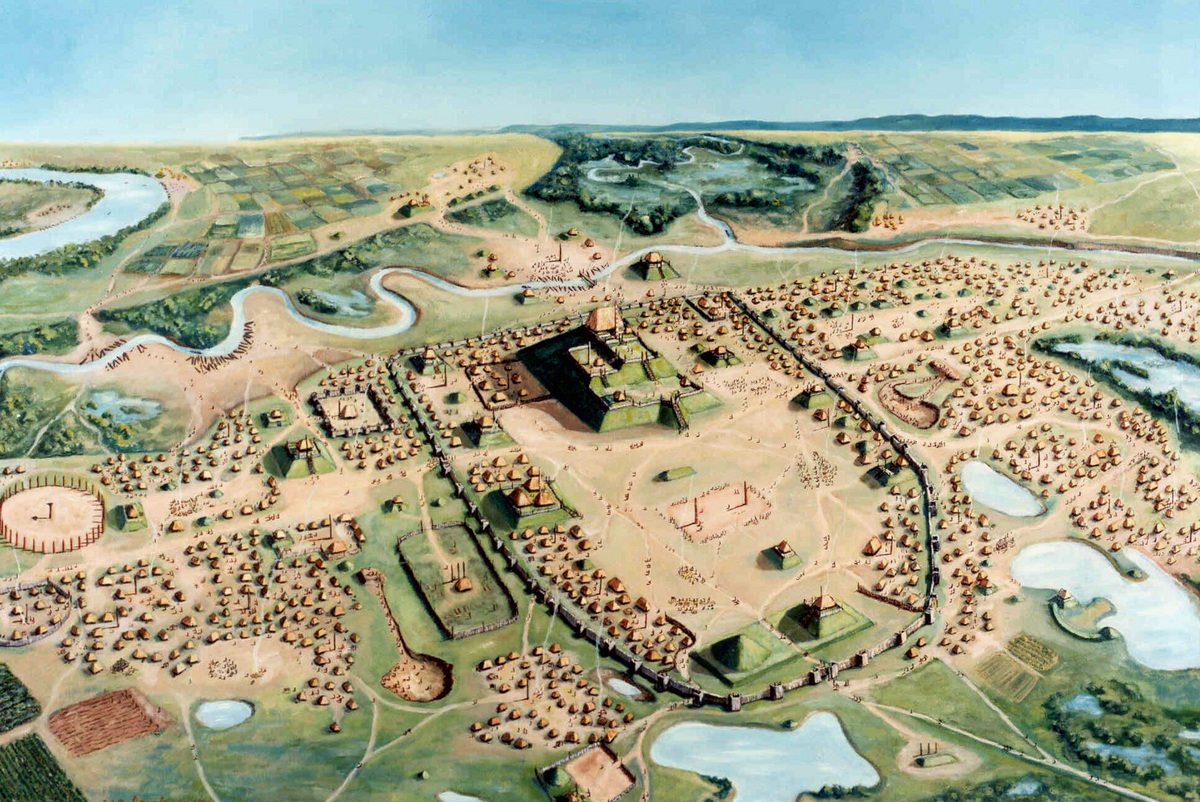 Illustration: Painting of Cahokia settlement