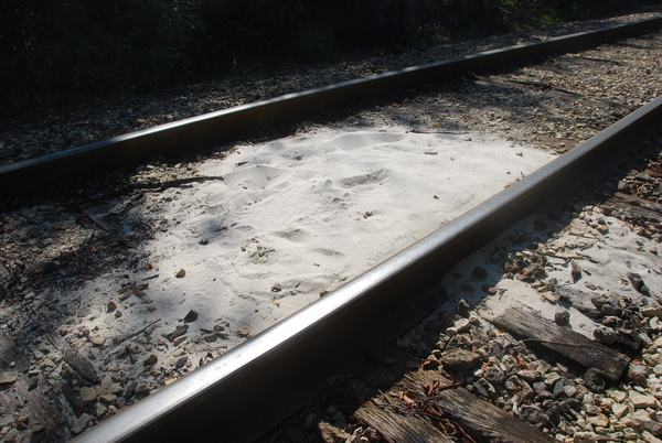 Photo: Sand on railroad tracks