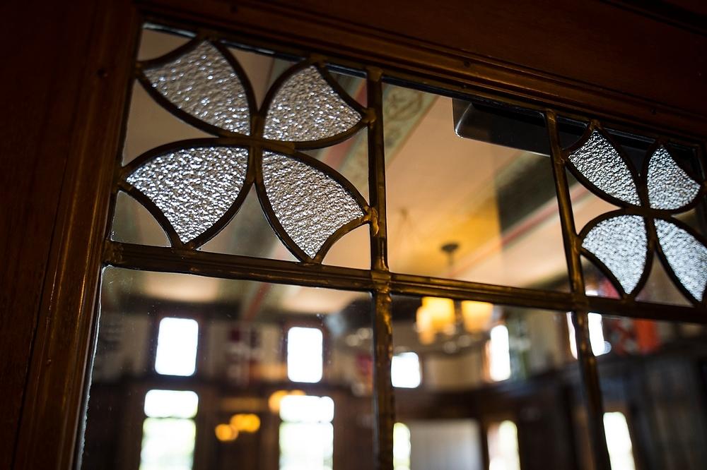 Photo: Glass cloverleaf on door