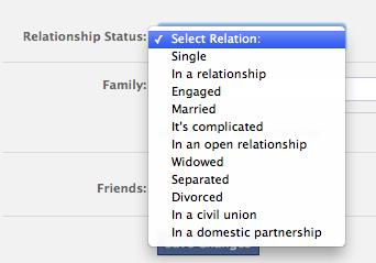 Screen shot of Facebook status menu