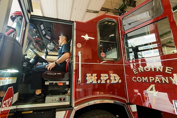 Photo: Engineer driving fire truck