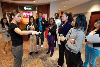 Photo: Students touring Grainger Hall
